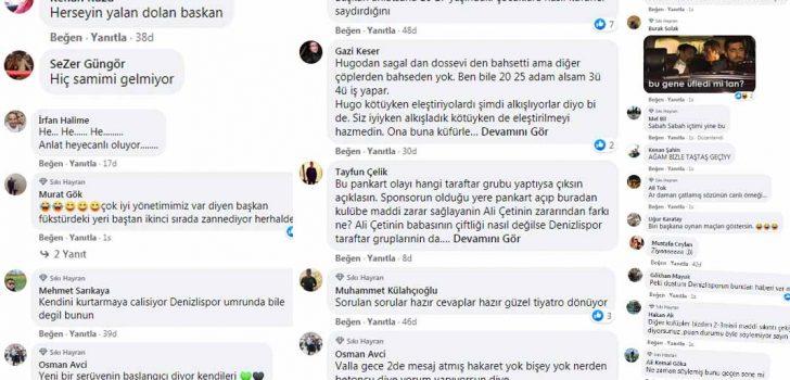DENİZLİSPOR TARAFTARI ÇETİN'İ Tİ'YE ALDI